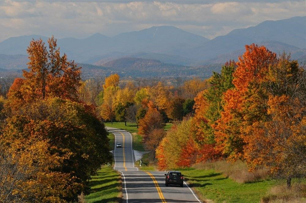 Fall foliage along Bostwick Road in Shelburne, Vermont.