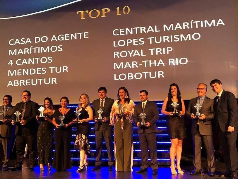 entrega dos prêmios - categoria TOP 10 MSC Cruzeiros